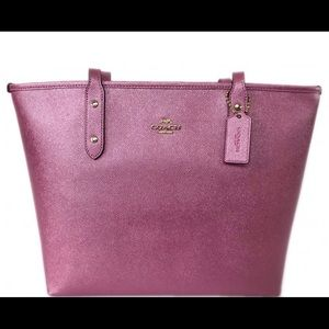 Coach F16224 City Zip Tote Shoulder Bag pink blush